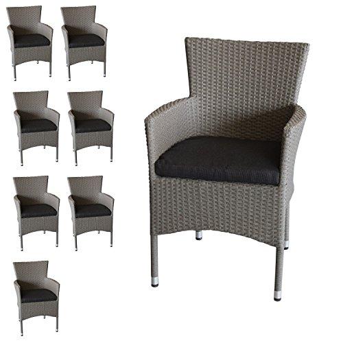 Wohaga 8X Polyrattan Sessel stapelbar Rattansessel grau-meliert inklusive schwarzen Sitzkissen Gartensessel Gartenstuhl Rattanstuhl Rattansessel