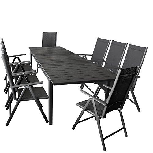 Wohaga 9er Gartenmöbel Set ausziehbarer Aluminium Gartentisch mit Polywood-Tischplatte 280/220x95cm Schwarz + 8X Hochlehner mit 2x2 Textilengewebe, Rückenlehne 7-Fach verstellbar