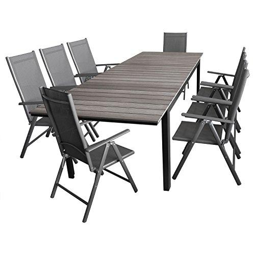 Wohaga 9tlg. Sitzgruppe Gartentisch, Polywood-Tischplatte grau, ausziehbar, 200/250/300x95cm + 8X Gartenstuhl 'Miami' Grau, klappbar, 7-Fach verstellbar