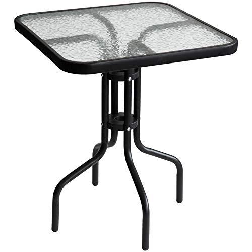 Wohaga® Bistrotisch 60x60xH70cm mit geriffelter Glasplatte, Schwarz, Glastisch Beistelltisch Balkontisch Gartentisch