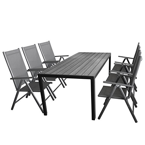 wohaga gartenm bel set 7tlg sitzgarnitur mit aluminium. Black Bedroom Furniture Sets. Home Design Ideas