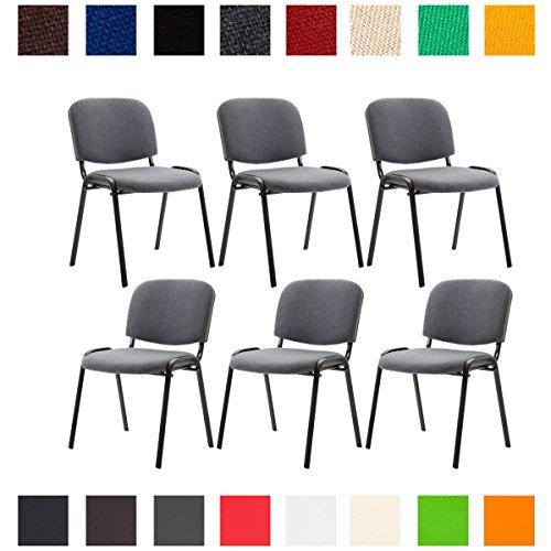 CLP 6X Konferenzstuhl Ken mit Stoffbezug oder Kunstlederbezug I 6 x Stapelstuhl mit robustem Metallgestell I erhältlich
