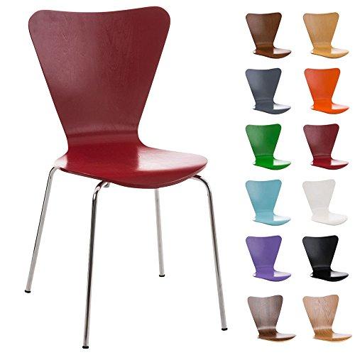 CLP Konferenzstuhl Calisto mit Holzsitz und stabilem Metallgestell I Platzsparender Stuhl mit Einer Sitzhöhe von: 45 cm