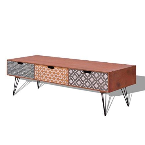 vidaXL TV-Schrank Lowboard HiFi Fernsehtisch Sideboard Retro Design braun/grau
