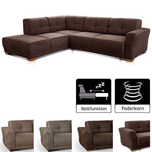 """Cavadore Ecksofa """"Modeo"""" / Sofa-Ecke mit Federkern und modernen Kontrastnähten / Hochwertiger Mikrofaser-Bezug in Wildlederoptik"""