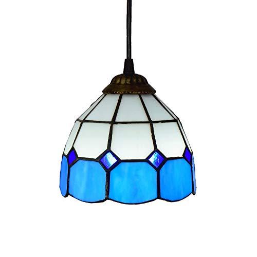 Deckenleuchte, Tiffany-Art-Mini-Anhänger-Licht, Blau und Weiß Glaspendelleuchte, 6-Zoll-Deckenpendelleuchte Fixture Schatten, for Esszimmer Kitchen Island Schlafzimmer, E26 / E27-Beleuchtungskörper