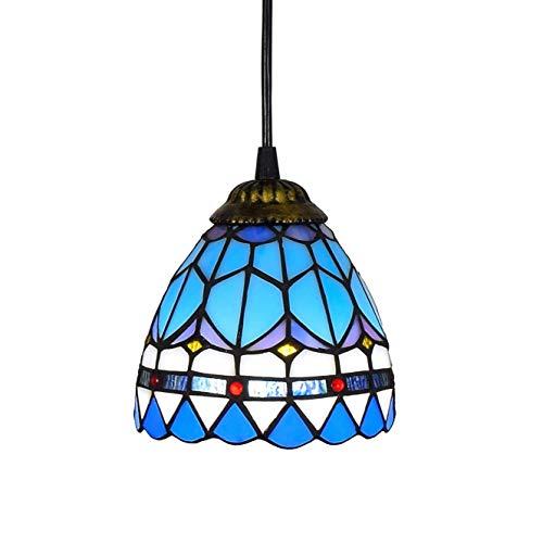 Deckenleuchte, Tiffany-Art-Mini-Anhänger Licht, blaues Mittelmeer Glaspendelleuchte, 6-Zoll-Deckenpendelleuchte Fixture Schatten, for Esszimmer Kitchen Island Schlafzimmer, E26 / E27-Beleuchtungskörpe