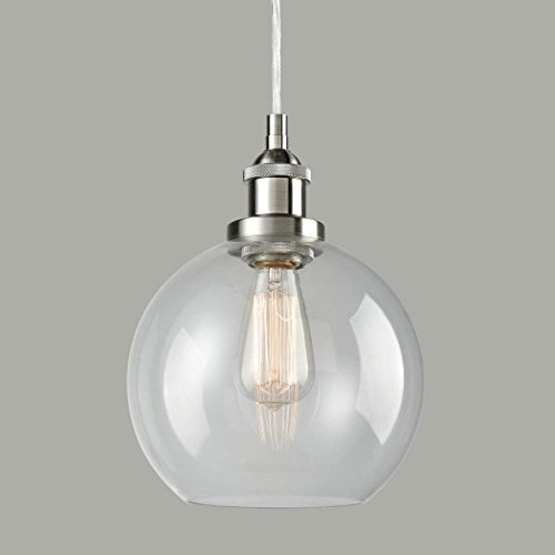 Ecopower Lighting Vintage Clear Glass Globe Pendant Brushed Nickel Hanging Light