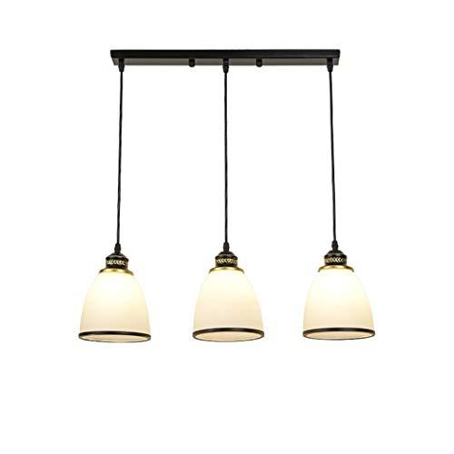 Jiji Kronleuchter Moderne Glaspendelleuchte Schlafzimmer Esszimmer Lampe Einfache Schmiedeeisen LED Beleuchtung for Zuhause Bar DREI Kronleuchter Pendelleuchten