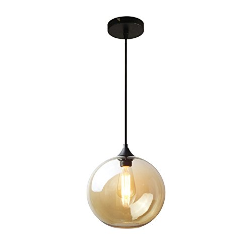 MZStech Spherical Klassische Glas Pendelleuchte, Celling Light Base E27 Birne