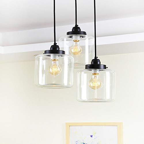 Modern Vintage Bauernhof Küche Lampe Glaspendelleuchte, Einstellbarer hängend Höhe, Antikmessing gebürstet Antik Sockel, E27