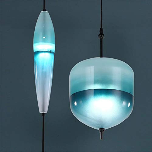 Pendant Light for Living Room,Nordic Moderne tropfenförmige Blaue Glaspendelleuchte LED Art Deco einfache weiße Hängelampe für Wohnzimmer Restaurantküche