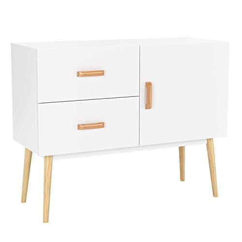 Homfa Kommode Sideboard Schrank 2 Schubladen und 1 Tür Anrichte Highboard, 100 x 40x 80cm weiß