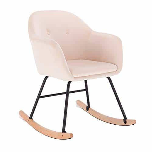 WOLTU® Schaukelstuhl #935 Relaxstuhl Sessel Schaukelsessel Schwingsessel Leinen Stahl Holz
