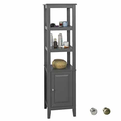SoBuy FRG205-DG Badezimmer-Hochschrank Badregal Badschrank Badmöbel mit 3 offenen Fächern und Tür Dunkelgrau BHT ca: 40x150x33cm