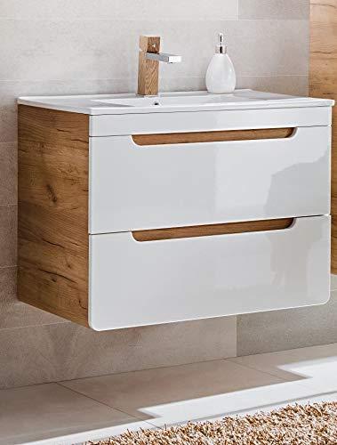 naka24 Badmöbel Set ''Aruba-Weiss/Eiche Badmöbel Set mit Waschbecken Badmöbelset LED