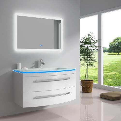 """oimexgmbh Design Badmöbel Set """"Monica"""" Weiß Hochglanz Waschtisch 90cm inkl. LED Waschbecken, LED Beleuchtung Armatur und Spiegel Badezimmermöbel Set mit Glas Waschbecken"""