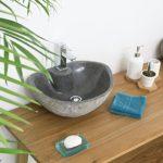 wohnfreuden 40 cm Naturstein Waschbecken mit gerader Rückwand oval grau