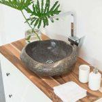 wohnfreuden Naturstein Waschbecken aus Flussstein rund oval 40-50 cm rundum poliert Steinwaschbecken für Bad Gäste WC ✓ sicher Waschbecken aus Stein Findling Granit ✓