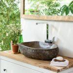 wohnfreuden Naturstein Waschbecken aus Stein 50 cm oval grau